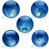 Earth Aqua Set - Glass Globes