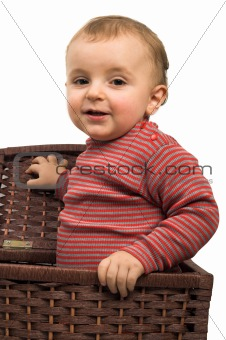 baby boy in basket