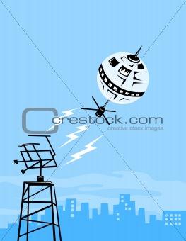 Satellite sending signal