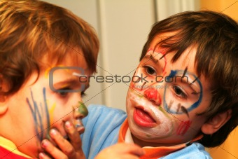 boys painting his faces