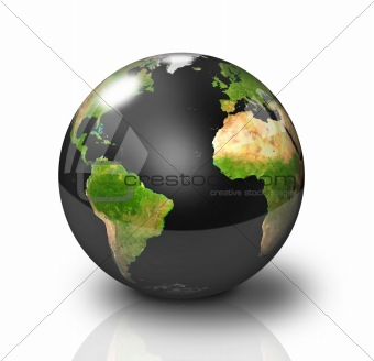 Glossy Black Earth Globe