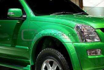 Green pickup truck