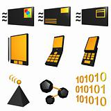 Telecommunications Mobile Industry Icons Set - Black Orange