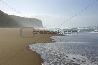 Waves on a deserted beach
