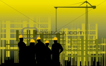 men standing in a construction site