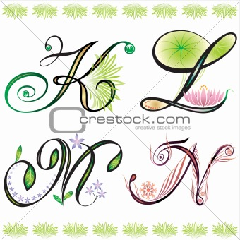 Image Description: alphabets elements design - series K to N