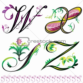 Picture Flower Tattoos on Image Description  Alphabets Elements Design   Series W To Z