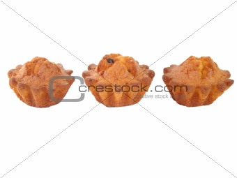 Three fruit cakes on a white background