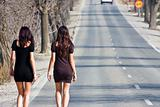 Young women in the road