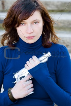 Beauty with gun