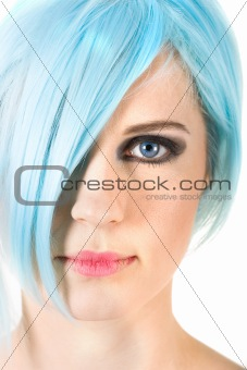 Close-up of a girl with blue hair