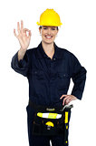 Woman construction worker at her best