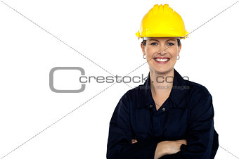 Beaming construction worker. Cheerful portrait