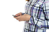 Cropped image of a girl in checked sending messages