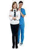 Full length portrait of a doctor with her patient