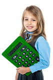 Cheerful kid holding big green calculator