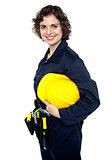 Confident caucasian construction engineer