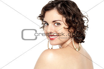 Attractive topless woman smiling at you