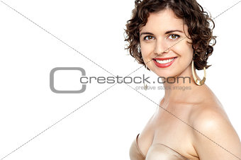 Beautiful breasts of young woman in bra