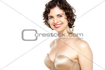 Portrait of woman in bra isolated on white