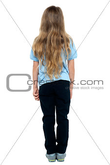 Back view of a long haired young female child