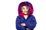 Excited young girl in winter wear