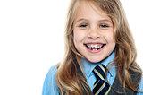 Cheerful school girl, closeup shot