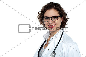 Charming young physician on white background