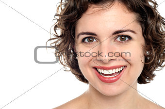 Bright smile of an attractive young woman