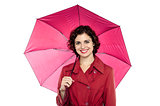 Cute lady with an umbrella on white background