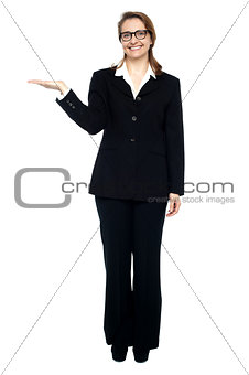 Corporate lady posing. Copy space concept