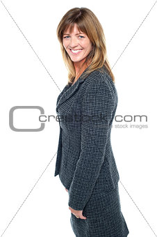 Modern smiling female employee