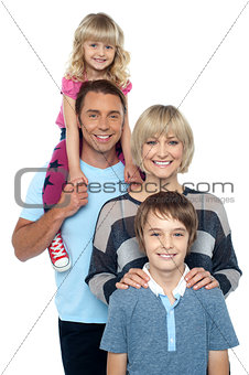 Portrait of happy family of four persons