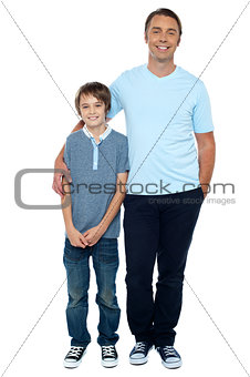 Casual studio shot of father and son