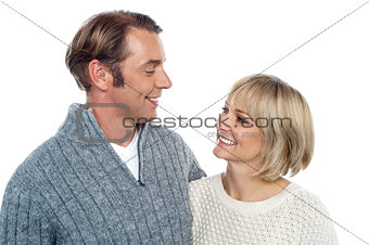 Middle aged caucasian couple in love