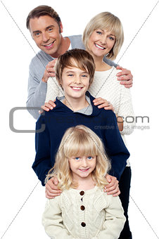 Complete family. Daughter, son, mother and father