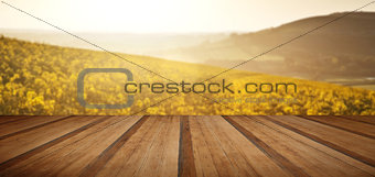 Beautiful sunrise over field of rapeseed in countryside in Spring