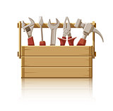 Wooden box with construction tools