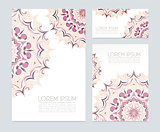 Business cards with floral ornaments