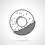Round cookie black line vector icon