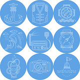 Blue round marine vector icons