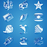 White underwater vector icons