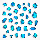 Cartoon doodle blue gems vector background