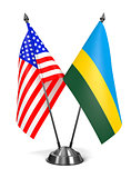 USA and Rwanda - Miniature Flags.