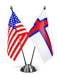 USA and Faroe Islands - Miniature Flags.
