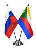 Russia and Comoros - Miniature Flags.