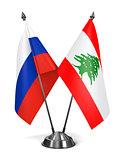 Russia and Lebanon - Miniature Flags.