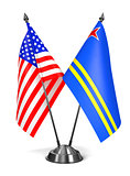 USA and Aruba - Miniature Flags.