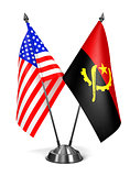 USA and Angola - Miniature Flags.