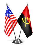 USA and Angola - Miniature Flags.